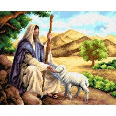 TAPESTRY CANVAS Jesus with a Lamb 40X50cm 2313M