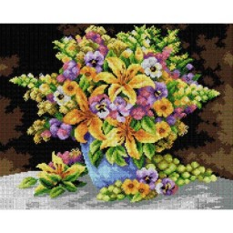TAPESTRY CANVAS Flowers 40X50cm 2384M