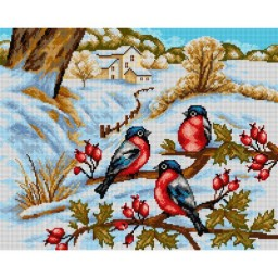 TAPESTRY CANVAS Winter Landscape with Bullfinches 40X50cm 2421M