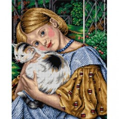 TAPESTRY CANVAS A girl with a Cat 40X50cm 2463M