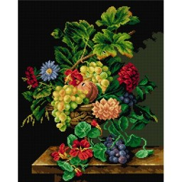 TAPESTRY CANVAS Still Life with Flowers after Jean-Claude Rubellin 40X50cm 2509M