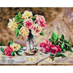 TAPESTRY CANVAS Still Life of Pink and Yellow Roses after Emile Vernon 40X50cm 2602M