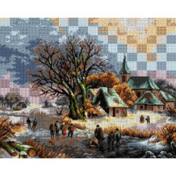TAPESTRY CANVAS Figures on a Frozen River 40X50cm 2658M