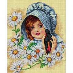 TAPESTRY CANVAS Girl with Swallow after Maud Humpbrey 40X50cm 2673M