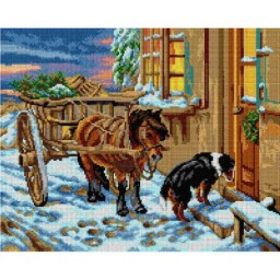 TAPESTRY CANVAS Their Christmas Eve after John Noble 40X50cm 2753M