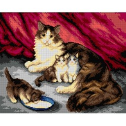 TAPESTRY CANVAS Kittens with Their Mother after Jules Leroy 40X50cm 2773M