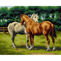 TAPESTRY CANVAS A Grey and a Chestnut Hunter after Otto Bache40X50cm 2788J