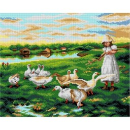 TAPESTRY CANVAS Girl Tending Geese after Luigi Chialiva 40X50cm 2950M