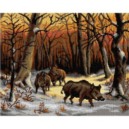 TAPESTRY CANVAS Wild Boars in the Snow after Rosa Bonheur 40X50cm 2993M