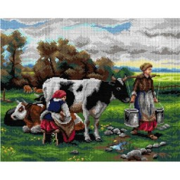 TAPESTRY CANVAS Milkmaids in the Field after Julien Dupre 40X50cm 2999M