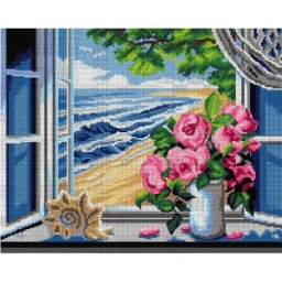 TAPESTRY CANVAS Window with Sea View 40X50cm 3028M