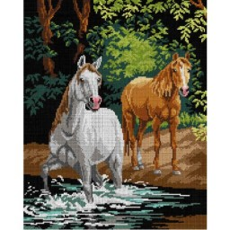TAPESTRY CANVAS Pair of Horses by the Stream 40X50cm 3029M