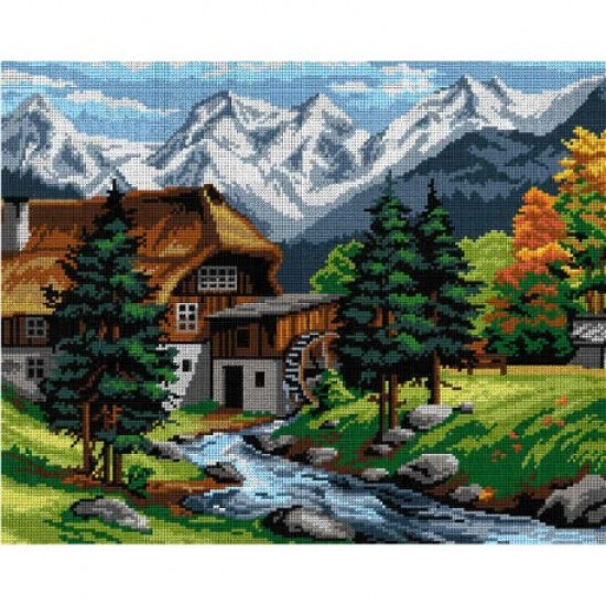 TAPESTRY CANVAS Mountain Landscape with a Watermill 40X50cm 3031M