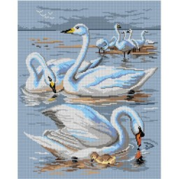 TAPESTRY CANVAS Swan 40X50cm 3055M