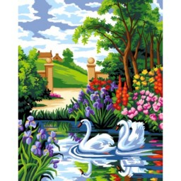 TAPESTRY CANVAS Swans 40X50cm C127M