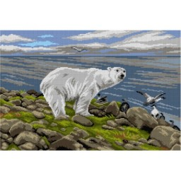 TAPESTRY CANVAS Polar Bear after Richard Friese 40X60cm 3133Q