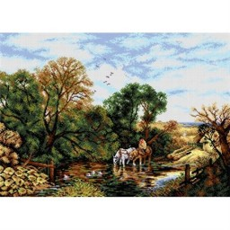 TAPESTRY CANVAS Watering Horses after James Edwin Meadows 50X70cm 2127R