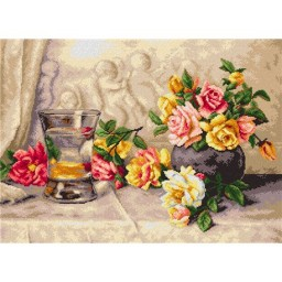 TAPESTRY CANVAS Roses on Silk Fabric after Elizabeth King 50X70cm 2225R