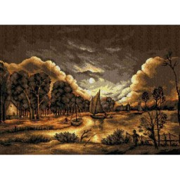 TAPESTRY CANVAS River View by Moonlight after Aert van der Neer 50X70cm 2465R