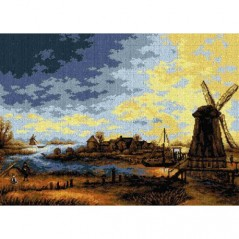TAPESTRY CANVAS Landscape with a Windmill after Aert Van Der Neer 50X70cm 2622R