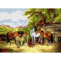 TAPESTRY CANVAS Farm animals in a Landscape after John F Herring 50X70cm 2690R