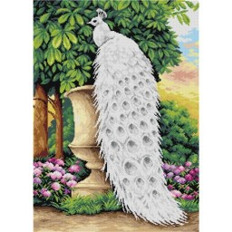 TAPESTRY CANVAS White Peacock on a Vase 50X70cm 2740R