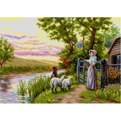 TAPESTRY CANVAS Awaiting the Return of the Sheep in the Sunset 50X70cm 2902R