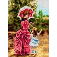 TAPESTRY CANVAS Mother and Child after Charles Cres 50X70cm 2907R