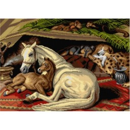 TAPESTRY CANVAS Arab Tent after Edwin Landseer 50X70cm 2937R