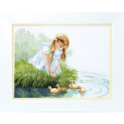 Cross Stitch Kit Girl with ducklings BT-091