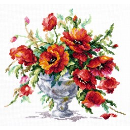 Cross Stitch Kit Red poppies art. 40-60