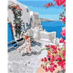 PAINT BY NUMBERS KIT Blooming Greece 40 x 50 cm GX34836 Framed