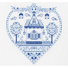 Cross Stitch Kit Blue Heart SO-1402
