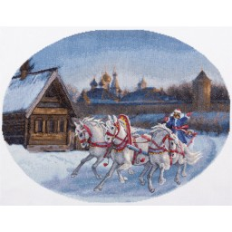 Cross Stitch Kit Three White Horses S-1530