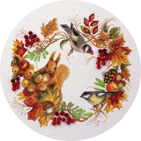Cross Stitch Kit Autumn Wreath PS-1615