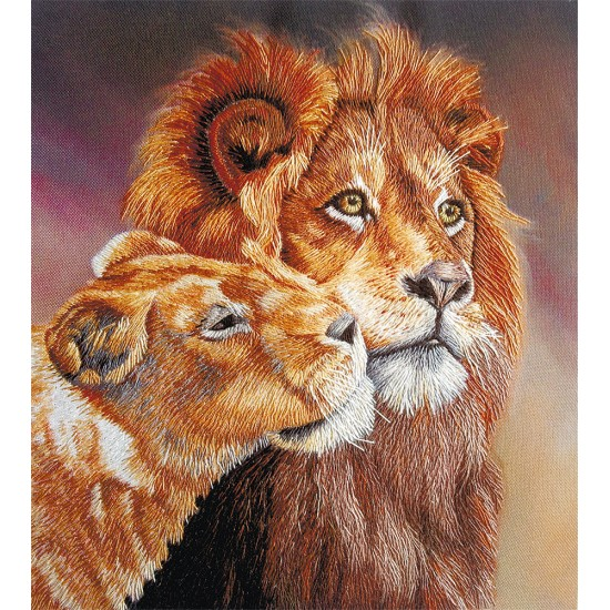 Embroidery Kit Living Picture Lions JK-2095