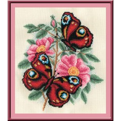 Cross Stitch Kit Aromatic Wild Rose C-0880 with threads and beads