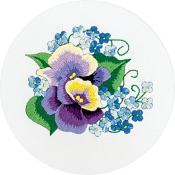 Embroidery Kit Pansies and Forget-me-nots C-0944