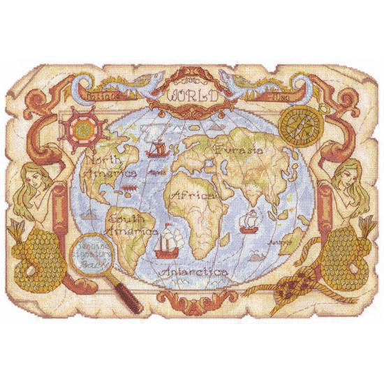 Cross Stitch Kit Antique Map MO-0986