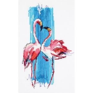 Cross Stitch Kit Pink Flamingos PT-7014