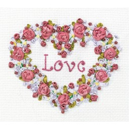 Embroidery kit with ribbons and beads Love - Everlasting Story V-0996