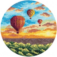 Cross Stitch Kit Air Balloons At Sunset PS-7059