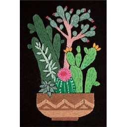 Embroidery Kit Living Picture Cactus in Planter JK-2134