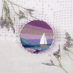 Embroidery Kit in satin stitch Living Picture Brooch. Seaside sunset  JK-2148