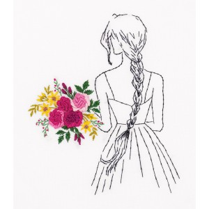 Embroidery Kit Living Picture Girl with a Bouquet JK-2172
