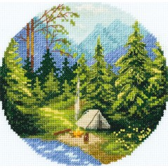Cross Stitch Kit Morning in the Forest PS-7075