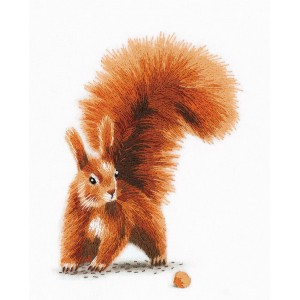 Embroidery Kit Living Picture Squirrel with a Nut JK-2176