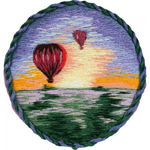 Embroidery Kit Living Picture Brooch. Air Balloons JK-2185