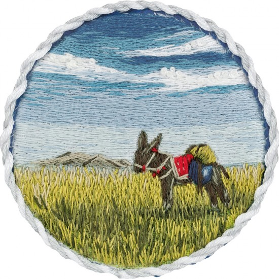 Embroidery Kit Living Picture Brooch. Donkey on Prairie JK-2184