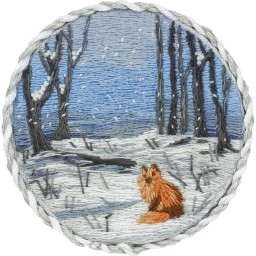 Embroidery Kit Living Picture Brooch. Winter Forest JK-2192